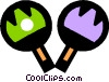 Vector Clipart illustration  of a table tennis paddles and ball