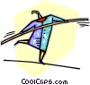 person walking on a tightrope Vector Clipart picture