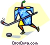 Vector Clip Art image  of a Person playing hockey