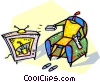 Vector Clipart graphic  of a person watching a television