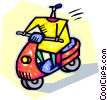 person riding a motor scooter Vector Clip Art picture