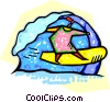 Vector Clip Art graphic  of a person surfing on the waves