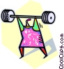 Vector Clipart picture  of a person lifting weights