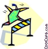 Vector Clip Art picture  of a person jumping over hurdles