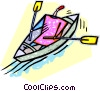 Vector Clipart illustration  of a person rowing a boat