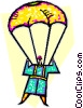 Vector Clip Art picture  of a person in a parachute