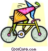 Vector Clip Art image  of a person riding a bike