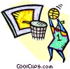 Vector Clipart graphic  of a basketball player slam dunking