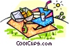 Vector Clip Art image  of a person having a picnic