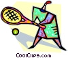 Vector Clip Art graphic  of a person playing tennis