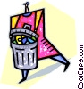 Vector Clipart graphic  of a person talking out the trash