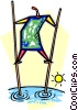 Vector Clipart picture  of a person walking on stilts