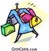 Vector Clipart graphic  of a person carrying luggage