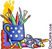 Vector Clipart illustration  of a paint brushes and paint tubes