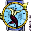 Vector Clip Art graphic  of a businessman running late for a