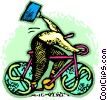 Vector Clip Art image  of a Person riding a bicycle