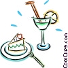 piece of cake with a cocktail Vector Clip Art picture