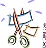 Vector Clipart image  of a scissors cutting material