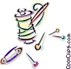 Vector Clipart graphic  of a thread and assorted pins