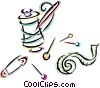 tape measure with assorted pins and thread Vector Clip Art picture