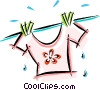 clothes on the clothes line Vector Clipart illustration