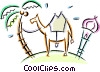 Vector Clip Art graphic  of a camel tied to a palm tree in