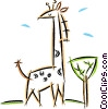 giraffe standing over a tree Vector Clip Art picture
