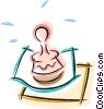Vector Clip Art graphic  of a rubber stamp with papers