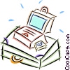 Vector Clip Art graphic  of a laptop computer with a
