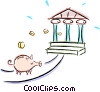 Vector Clip Art graphic  of a piggy bank and a financial