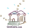 Vector Clipart graphic  of a coins moving through a bank