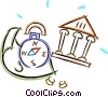 compass, money and a bank Vector Clip Art picture