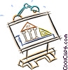 drafting table with a design Vector Clipart graphic