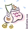 Vector Clip Art image  of a change purse with money in it