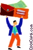 Vector Clip Art graphic  of a businessman holding up a