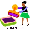 woman with a large rubber stamp Vector Clipart picture