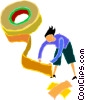 Vector Clipart image  of a woman with a large roll of