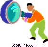man with a large magnifying glass Vector Clipart illustration
