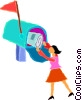 Vector Clip Art image  of a woman getting mail from a