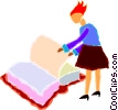 Vector Clipart graphic  of a woman flipping the pages of a