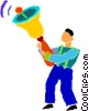 student ringing the school bell Vector Clipart illustration