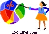 woman pointing at a pie chart Vector Clipart picture