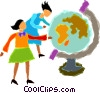 Vector Clipart graphic  of a women looking at a globe