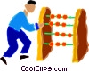 man using an abacus Vector Clip Art picture
