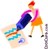 Vector Clip Art graphic  of a women using a marker