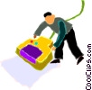 Vector Clipart graphic  of a man using a hand scanner