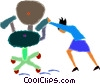 Vector Clipart graphic  of a women pushing a chair