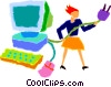 Vector Clipart graphic  of a women plugging in a computer