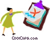 woman and a clipboard Vector Clipart illustration