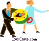 couple using a compass Vector Clip Art image